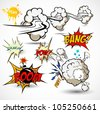 Comic Book Elements - Vector Cartoon Explosions - stock photo