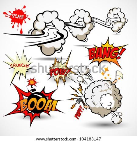 Comic Book Elements Vector Cartoon Explosions Stock 104183147