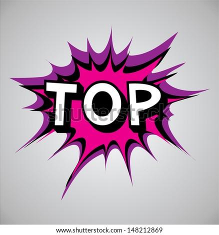 Comic book explosion bubble, vector illustration, top - stock vector