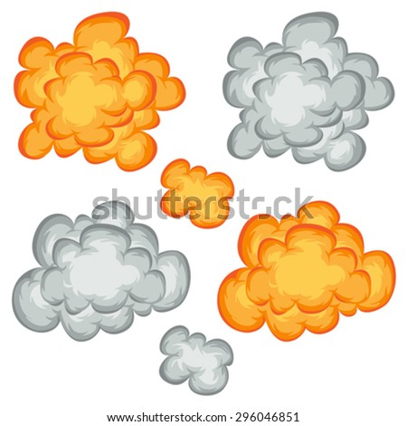 Comic Book Explosion, Clouds And Smoke Set/ Illustration of a set of comic book explosion, blast and cartoon fire bomb, bang and exploding symbols - stock vector