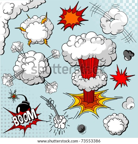 Comic book explosion elements for your design - stock vector