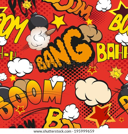 Comic book explosion pattern, vector illustration