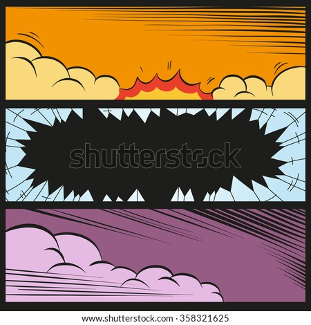 Comic book explosion set, vector illustration - stock vector