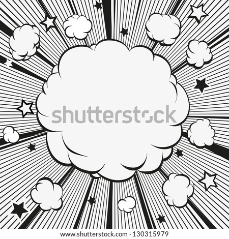 Comic book explosion, vector illustration