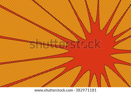 Comic book explosion vector illustration Red radial lines with dots halftone background Square fight stamp for card Sun ray or star burst element Superhero frame - stock vector