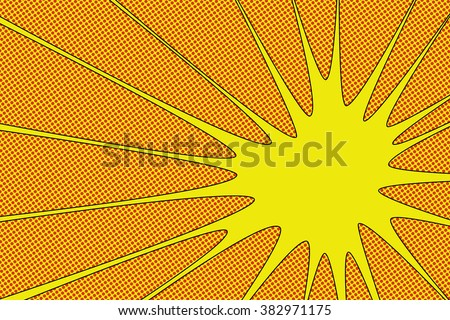 Comic book explosion vector illustration Yellow radial lines with dots halftone background Square fight stamp for card Sun ray or star burst element Superhero frame - stock vector