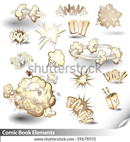 Comic Book Explosions - Vector Cartoon Elements - Sepia Theme - stock vector