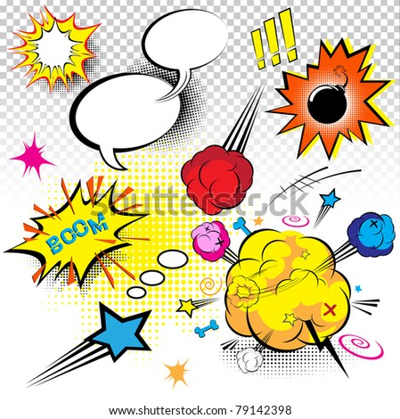 Comic Book Expressions - stock vector