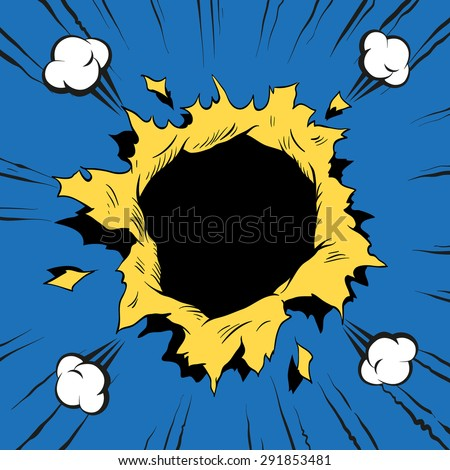 Comic book hole, boom explosion vector illustration - stock vector