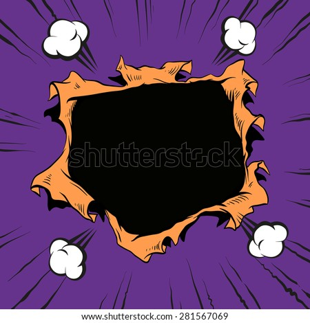 Comic book hole, vector illustration