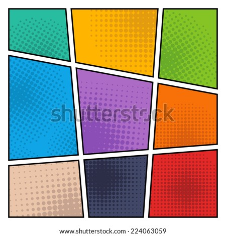 Comic Book Page Mock-Up.Halftone Backgrounds. - stock vector