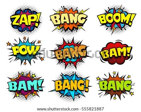 Comic Book Speech Bubbles Cool Blast And Crash Sound Effect Halftone Print Texture Imitation