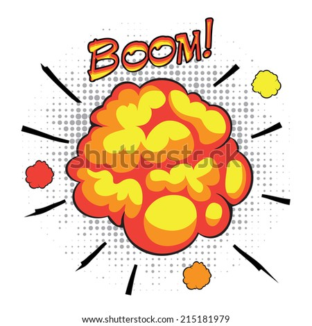 Comic book speech bubbles depicting of sounds explosions with motion puffs - stock vector