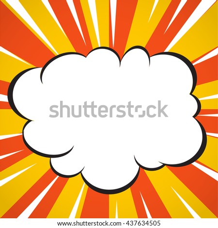 Comic book superhero explosion cloud pop art style yellow and white radial lines background. - stock vector