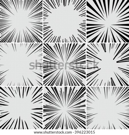 Comic book superhero pop art style black and white radial lines background. Manga or anime speed frame. Collection of Explosion. - stock vector