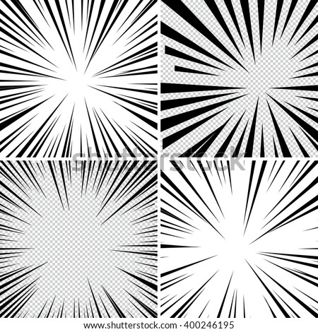 Comic book superhero pop art style black and white radial lines background. Manga or anime speed frame. Collection of Explosion.