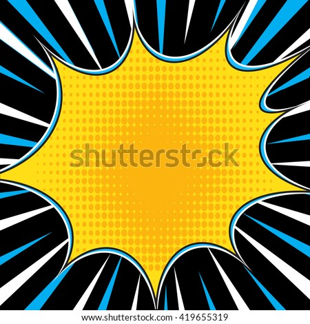 Comic book superhero pop art style black and white radial lines background. Manga or anime speed frame. Easy to use.