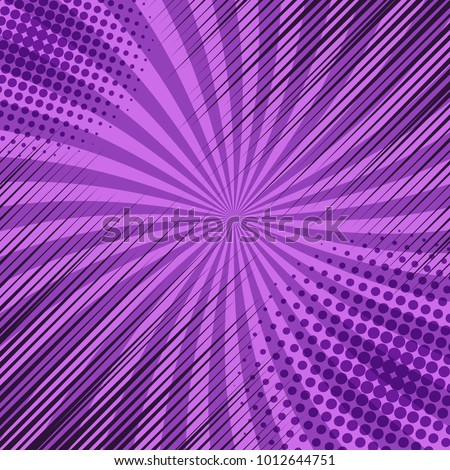 Comic book template with halftone and rays effects in corners on purple radial background. Vector illustration