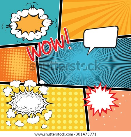 Comic Book Template Speech Bubbles Element Stock Vector