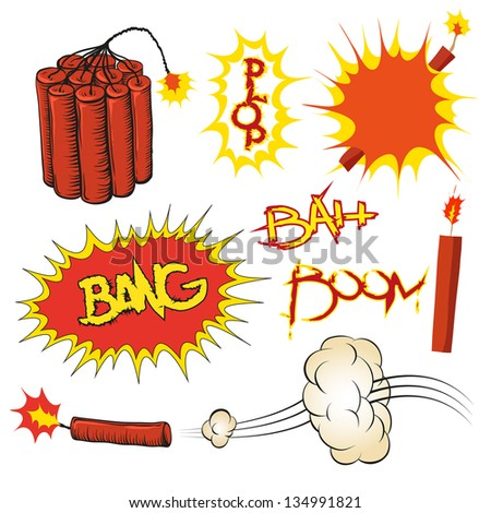 Comic book vector boom set, vector illustration - stock vector