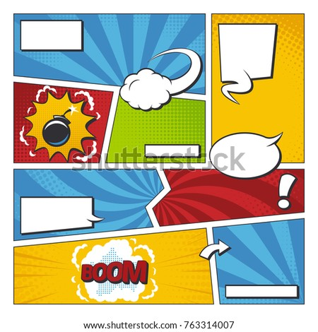 Comic Book Vector Frame Set Speech Stock Vector 763314007 - Shutterstock