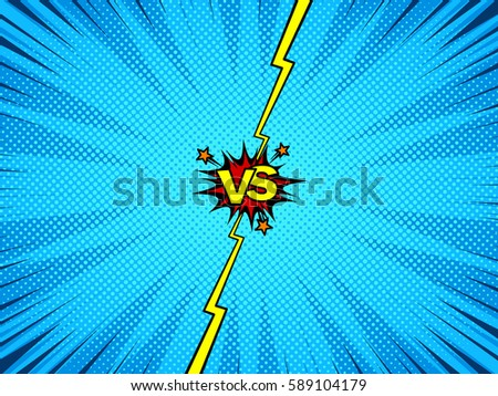 Stock Vector  ic Book Versus Fight Intro Background Classic Pop Art Style Halftone Print Texture on underdog cartoon intro