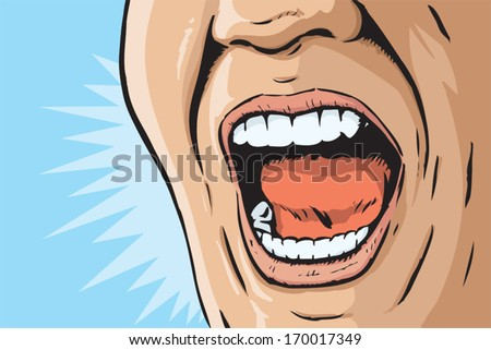 Comic book yelling mouth - stock vector