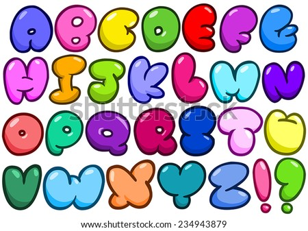 Comic bubble shaped alphabet set - stock vector
