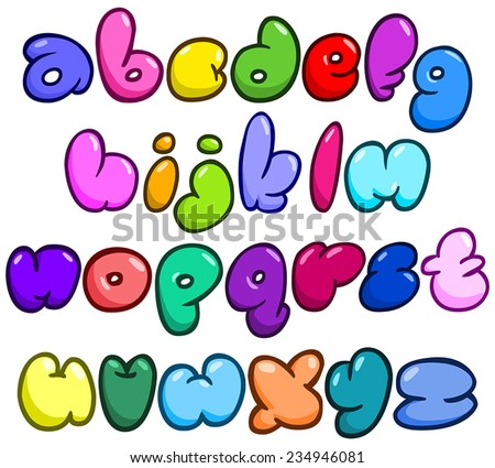 Comic bubble shaped lower case alphabet set - stock vector