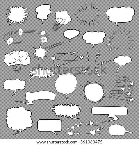 Comic bubbles and elements set - stock vector