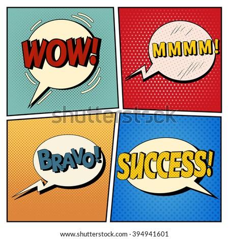 Comic Bubbles Set. Expressions Wow, Mmmm, Bravo, Success. Halftone Background. Pop Art. Vector illustration - stock vector