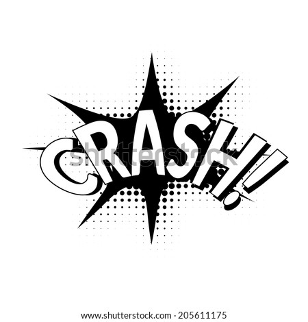 Comic bubbles vector isolated black and white illustration, crashing sound - stock vector