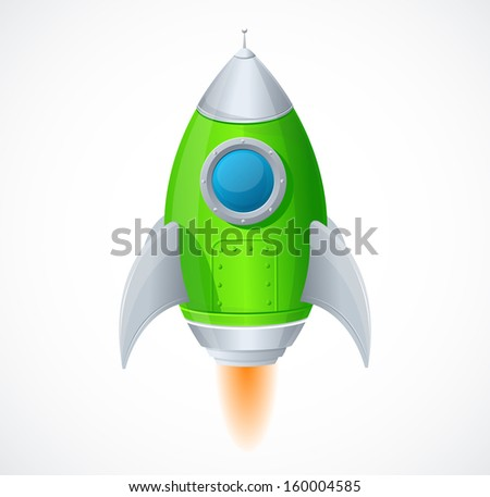 Comic cartoon rocket space ship. - stock vector