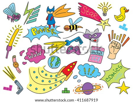 comic children pattern - stock vector