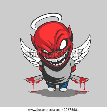 Comic demon illustration - stock vector