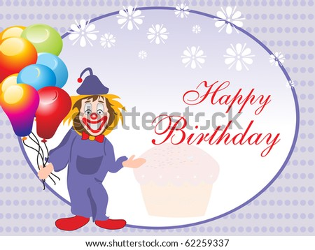 comic design card for happy birthday celebration - stock vector