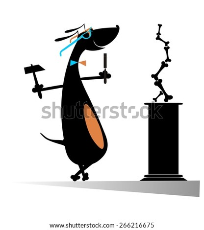 Comic dog is a modern sculptor - stock vector