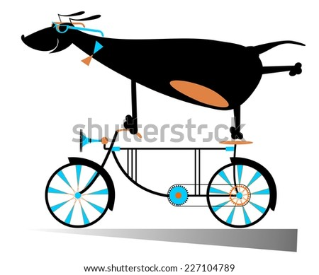Comic dog is riding a bike - stock vector