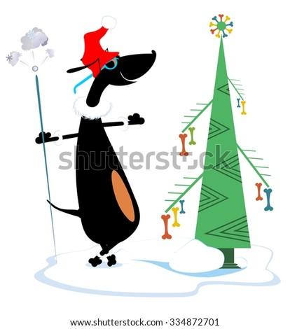 Comic dog with firework and Christmas fir  - stock vector