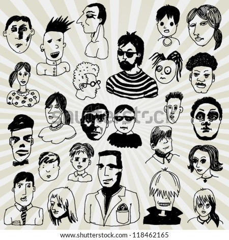 Comic Faces - stock vector