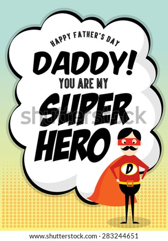 comic father's day greetings template vector/illustration - stock vector