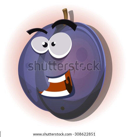 Comic Funny Plum Character/ Illustration of a cartoon funny healthy and juicy plum fruit character, for summer and fall jam and marmalade - stock vector