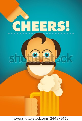 Comic guy with glass of beer. Vector illustration. - stock vector