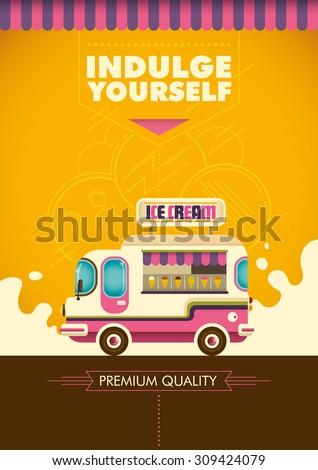 Comic ice cream truck. Vector illustration. - stock vector