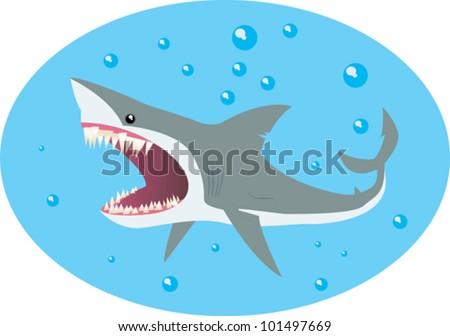 comic illustration of a shark - stock vector