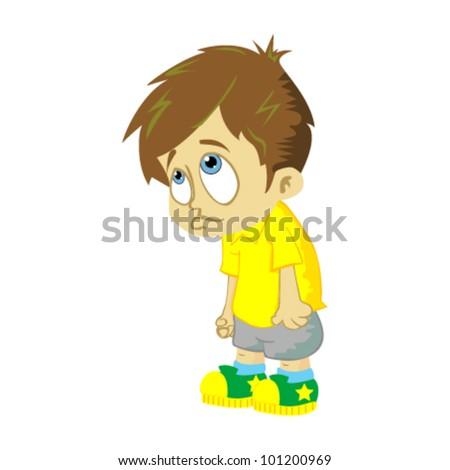 comic illustration of sad boy isolated on white background - stock vector