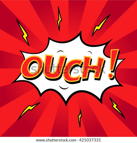 COMIC OUCH! Colorful Comic Book Explosion, Speech Bubble, Cartoon.Red background - stock vector