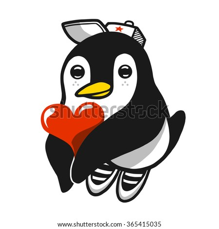 Comic penguin character holding heart in his hands. Vector illustration. - stock vector