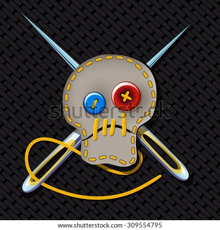 comic picture. Sign of brutal tailor with an embroidered skull and crossed needles - stock vector