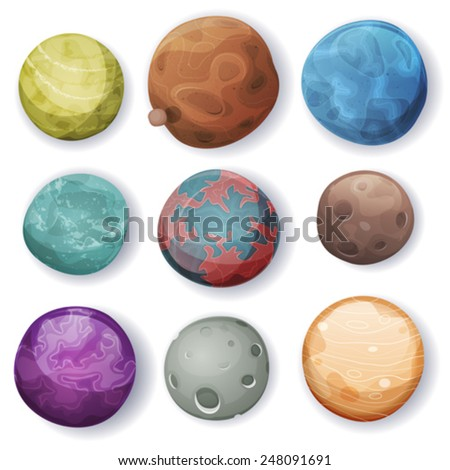 Comic Planets And Space Asteroids Set/ Illustration of a set of various comic planets, moons, asteroid and alien earth globes - stock vector